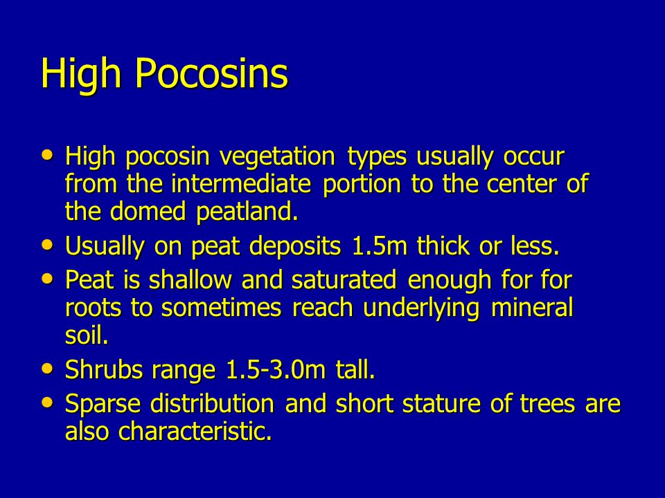 High Pocosins High pocosin vegetation types usually occur from the intermediate portion to the center of the domed peatland.