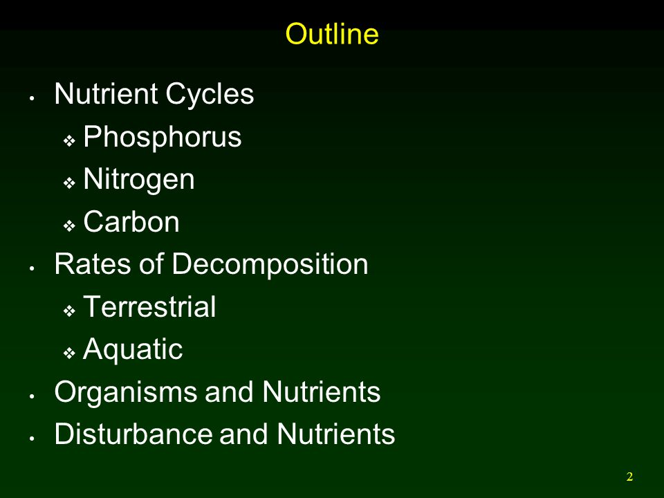 Outline Nutrient Cycles. Phosphorus. Nitrogen. Carbon. Rates of Decomposition. Terrestrial. Aquatic.