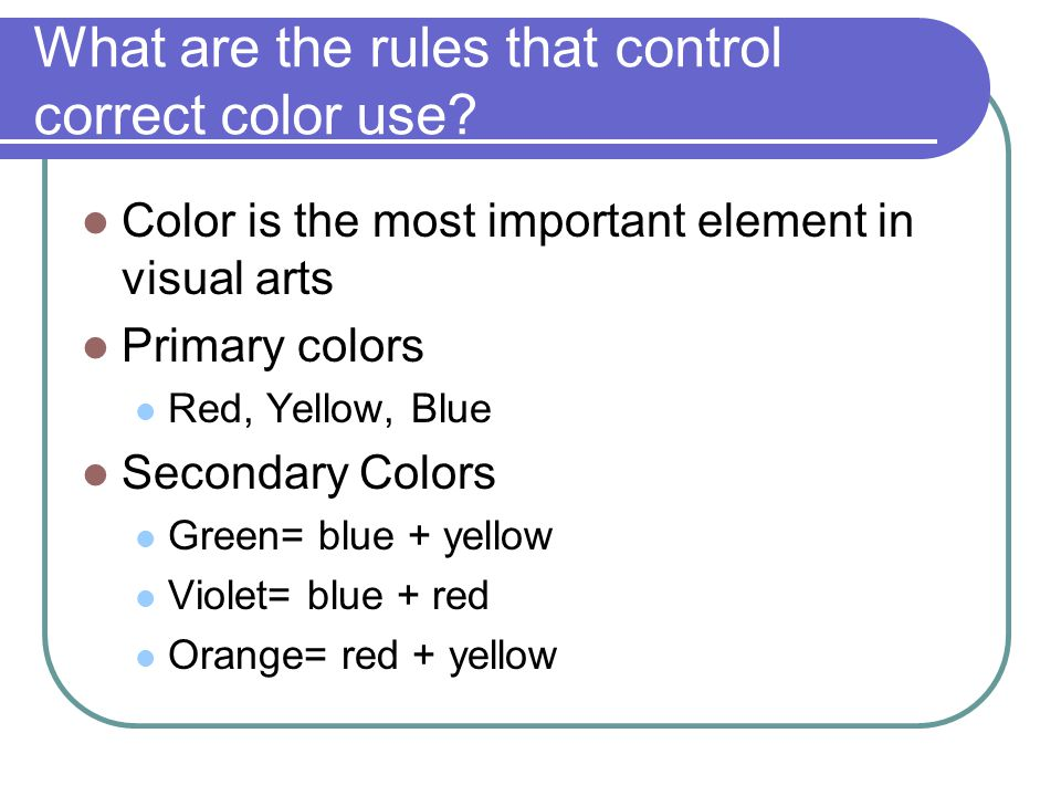 What are the rules that control correct color use