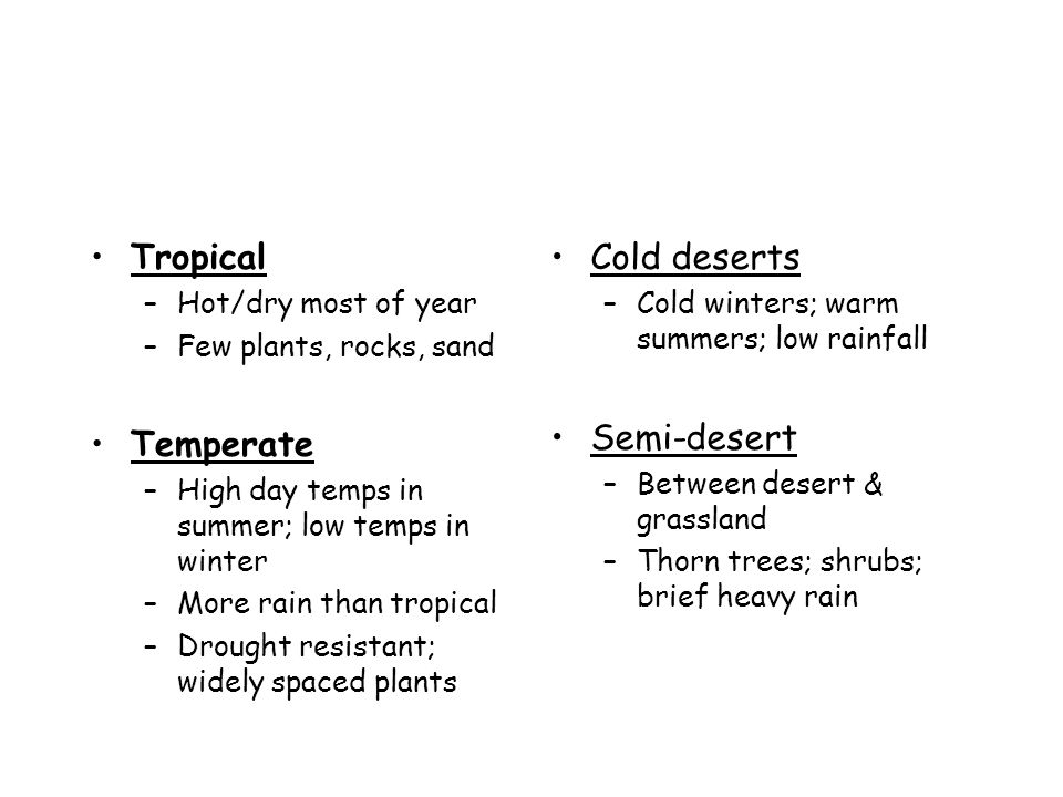 Tropical Temperate Cold deserts Semi-desert Hot/dry most of year