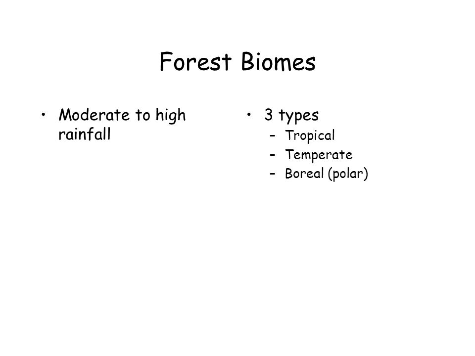 Forest Biomes Moderate to high rainfall 3 types Tropical Temperate