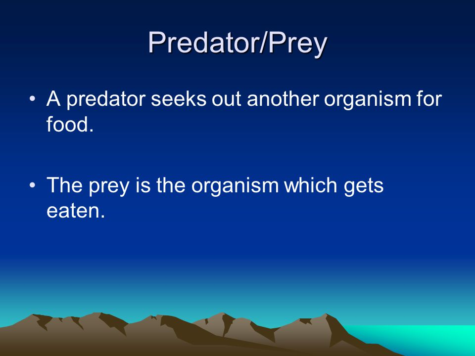 Predator/Prey A predator seeks out another organism for food.