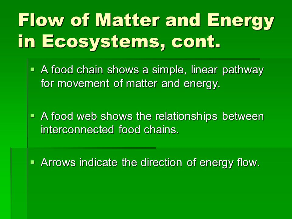 Flow of Matter and Energy in Ecosystems, cont.