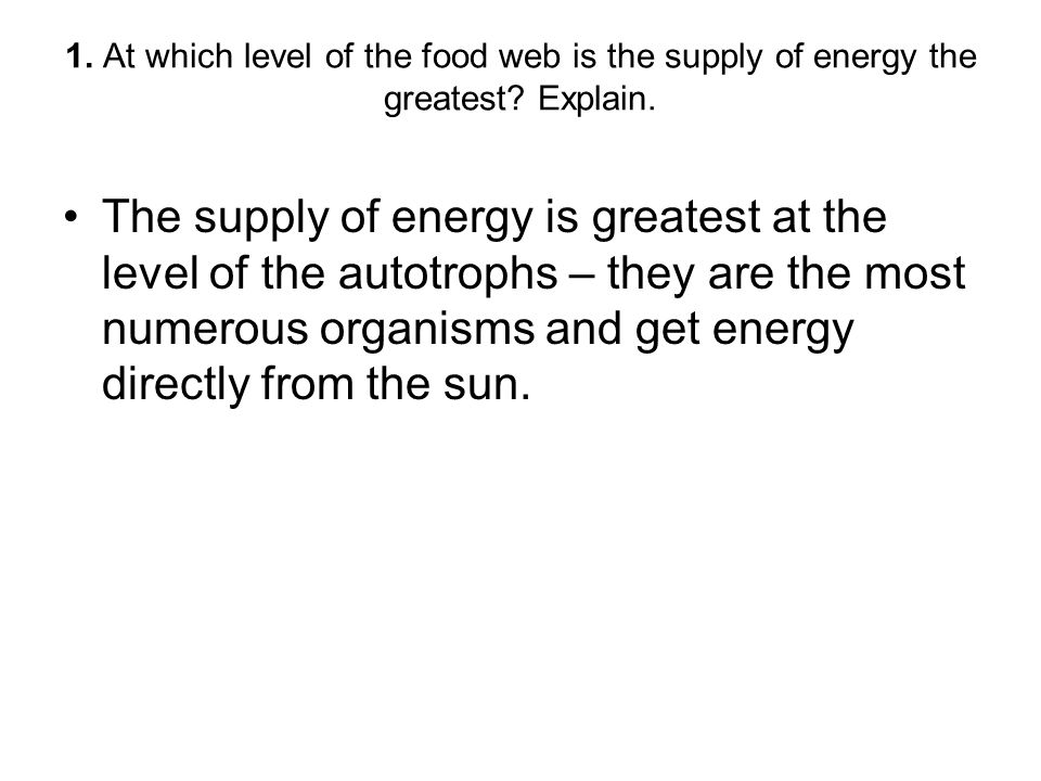 1. At which level of the food web is the supply of energy the greatest