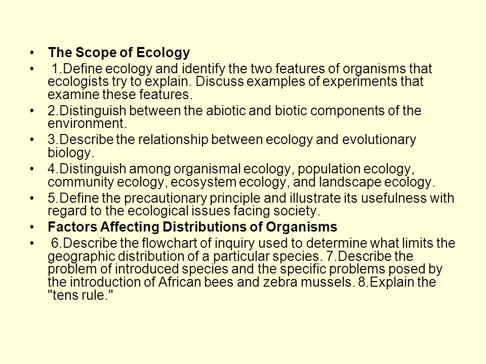 The Scope of Ecology