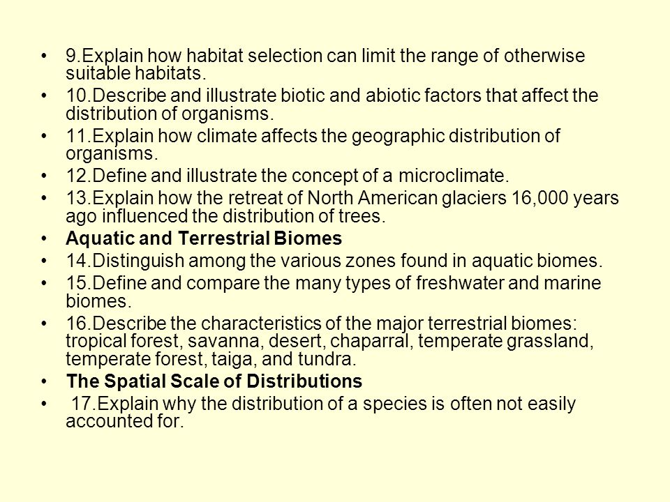 9.Explain how habitat selection can limit the range of otherwise suitable habitats.