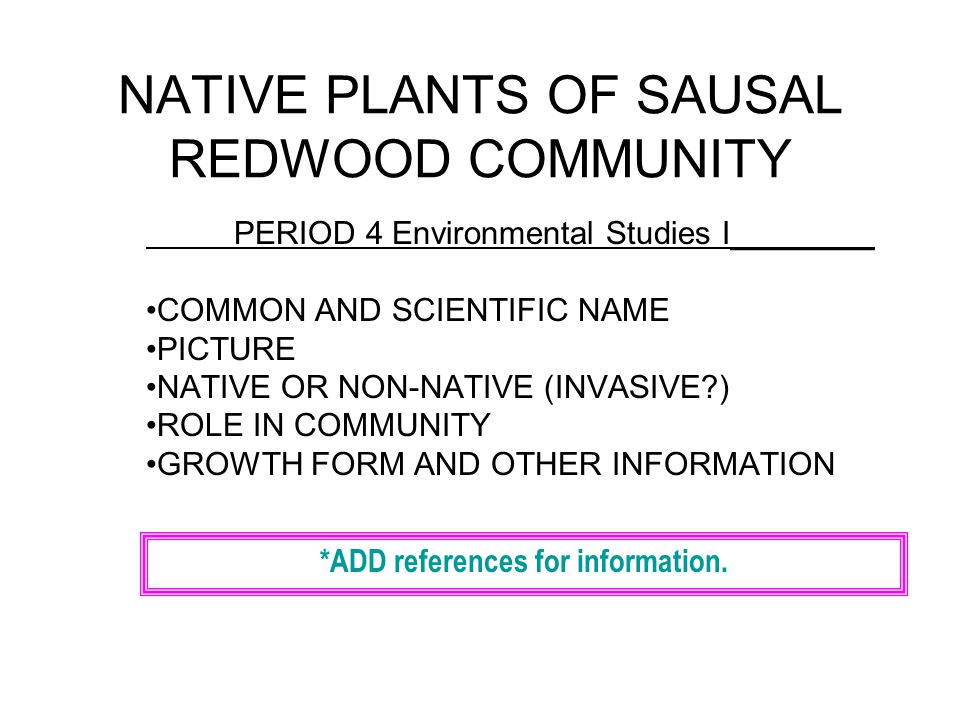 NATIVE PLANTS OF SAUSAL REDWOOD COMMUNITY