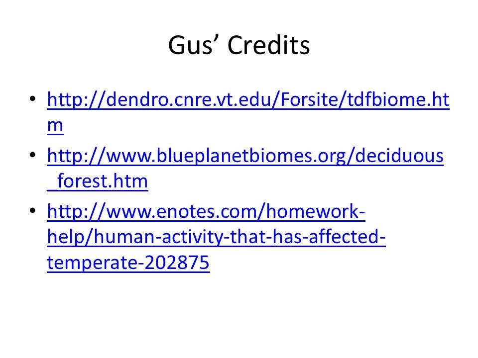 Gus' Credits http://dendro.cnre.vt.edu/Forsite/tdfbiome.htm