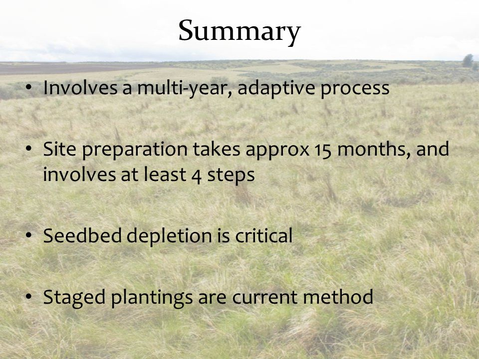 Summary Involves a multi-year, adaptive process