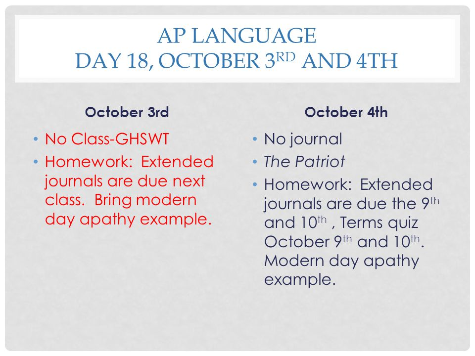 AP Language Day 18, October 3rd and 4th