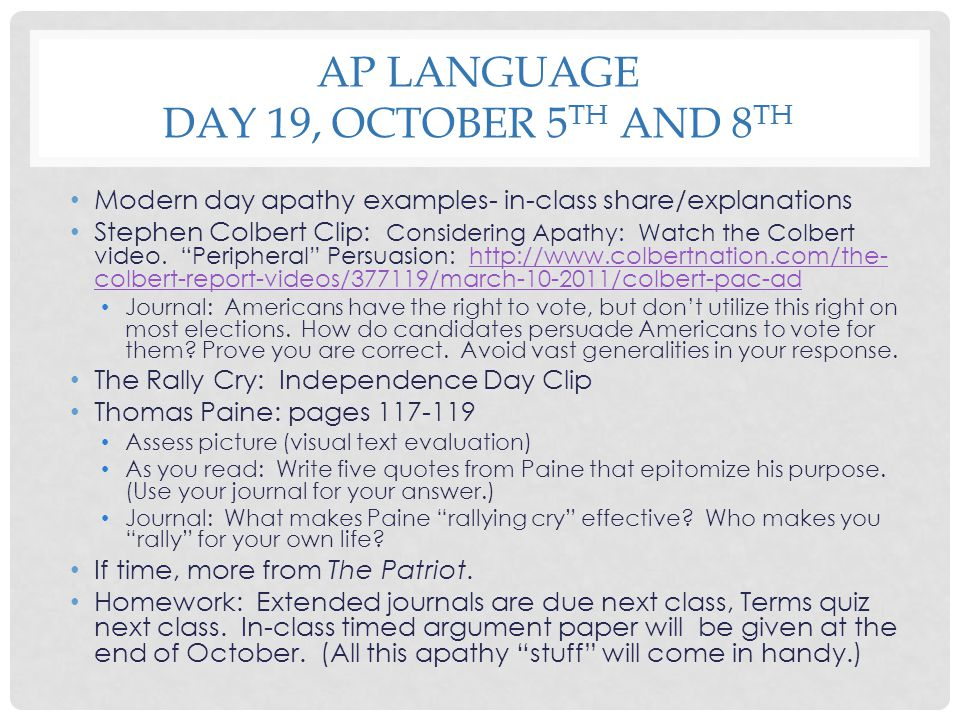 AP language Day 19, October 5th and 8th