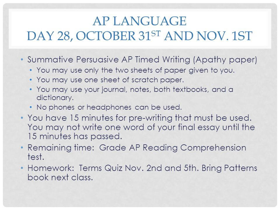 AP Language Day 28, October 31st and Nov. 1st