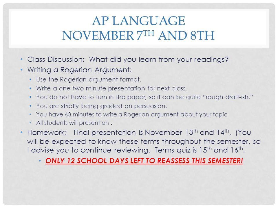 AP Language November 7th and 8th