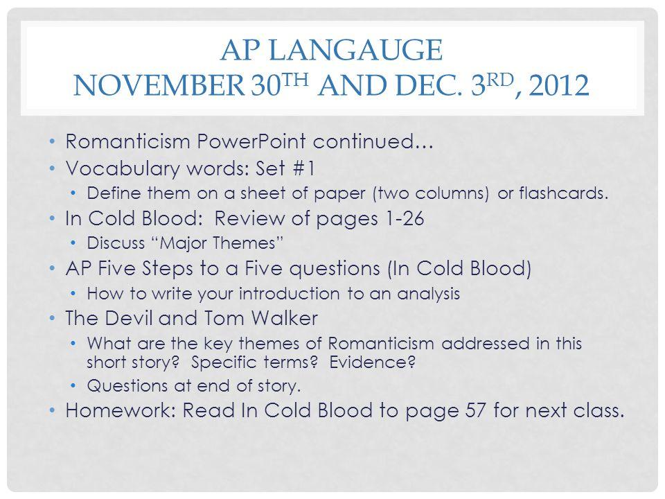 AP Langauge November 30th and Dec. 3rd, 2012