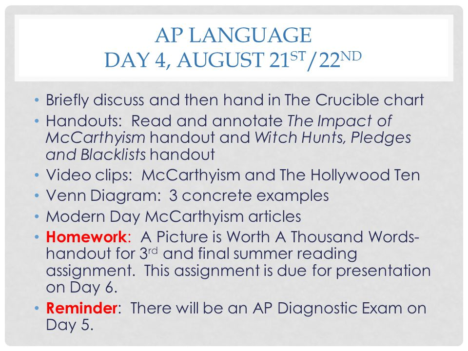 AP Language Day 4, August 21st/22nd
