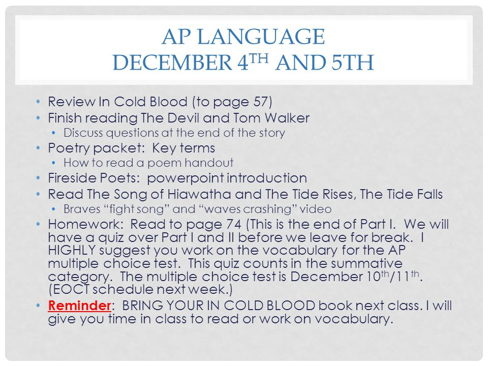 AP Language December 4th and 5th