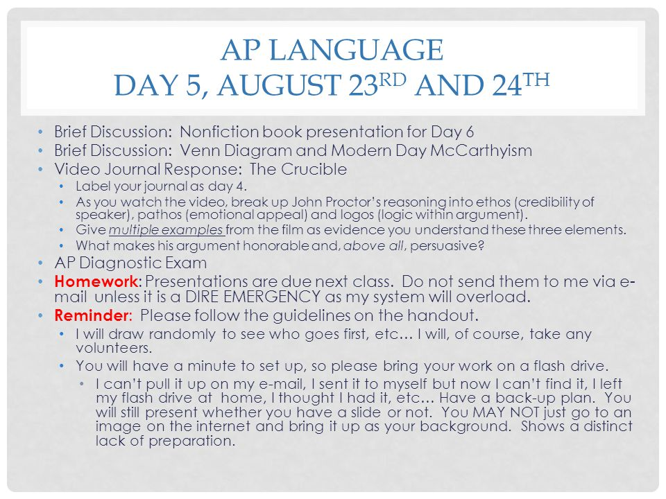 AP Language Day 5, August 23rd and 24th