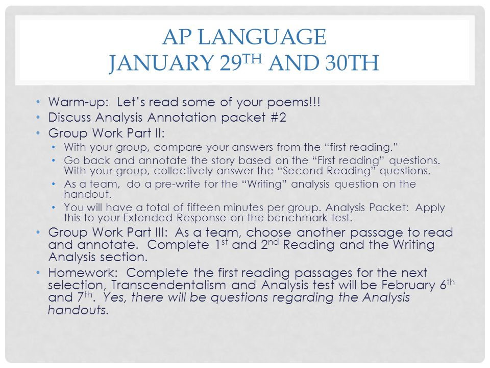 AP Language January 29th and 30th