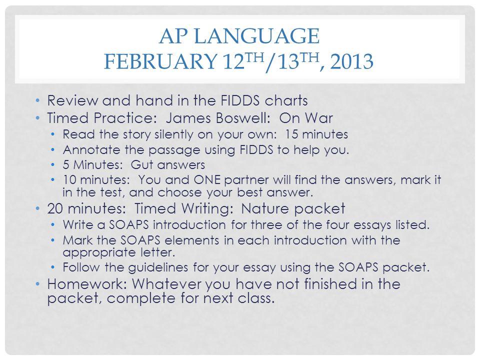 AP Language February 12th/13th, 2013