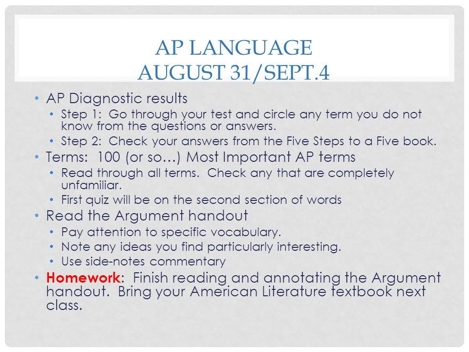 AP Language August 31/Sept.4