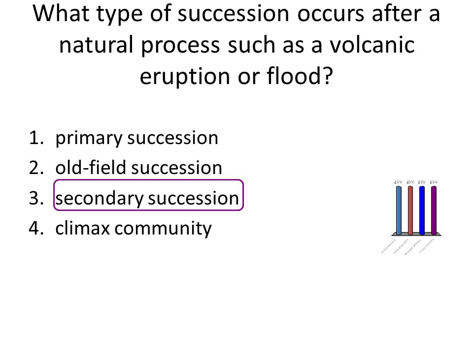What type of succession occurs after a natural process such as a volcanic eruption or flood
