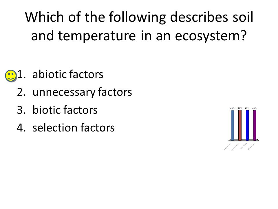 Which of the following describes soil and temperature in an ecosystem