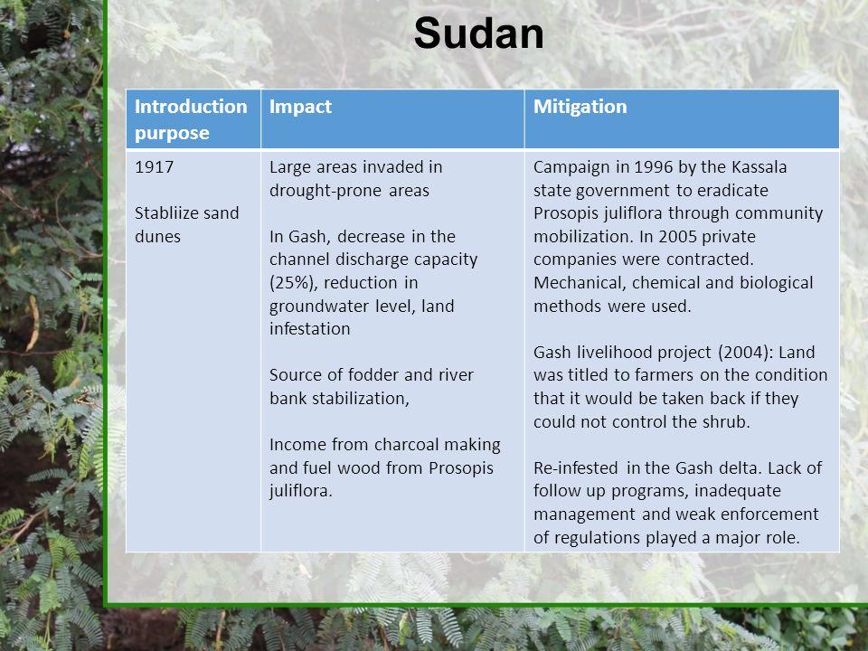 Sudan Introduction purpose Impact Mitigation 1917 Stabliize sand dunes