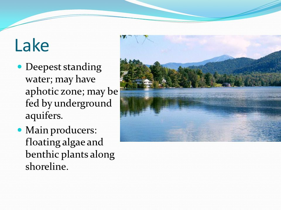 Lake Deepest standing water; may have aphotic zone; may be fed by underground aquifers.