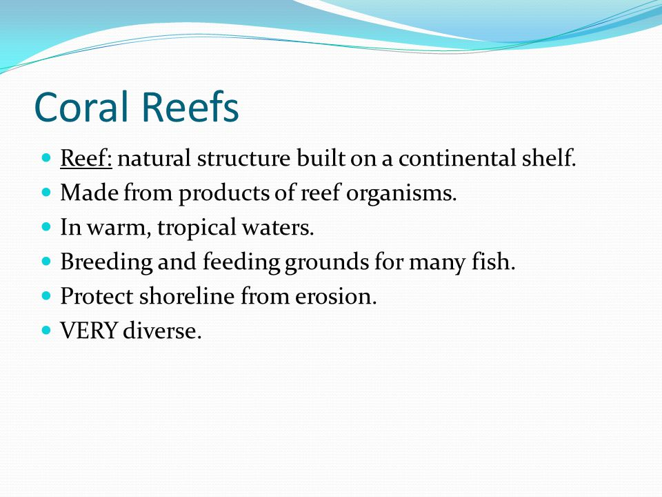 Coral Reefs Reef: natural structure built on a continental shelf.