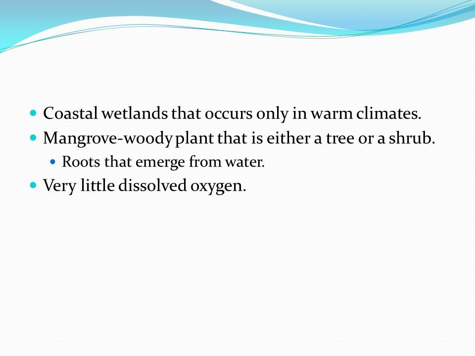 Coastal wetlands that occurs only in warm climates.