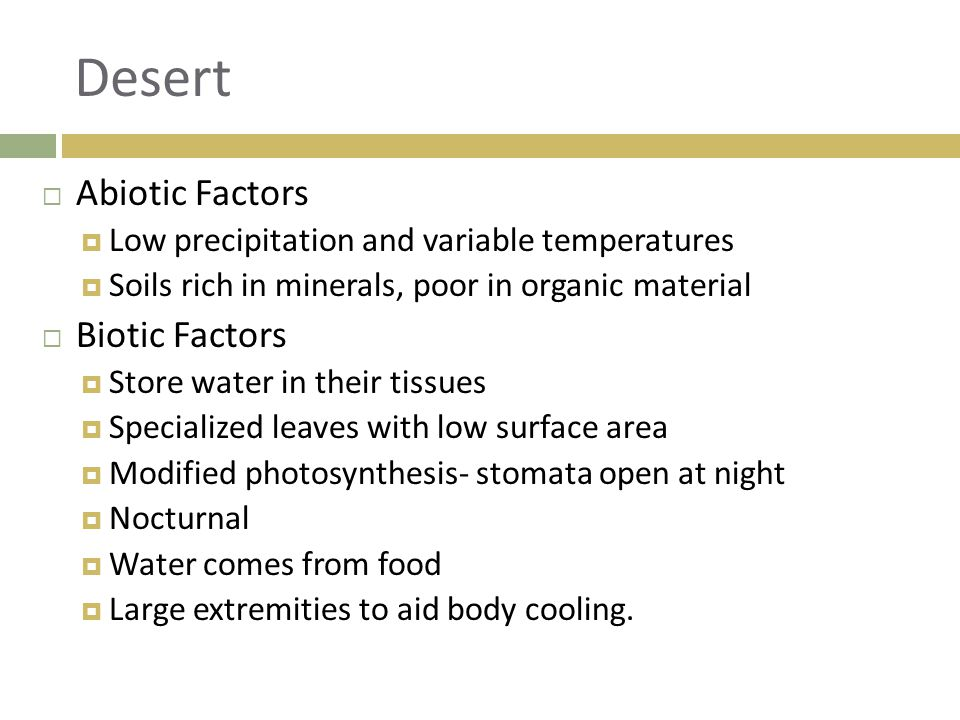 Desert Abiotic Factors Biotic Factors
