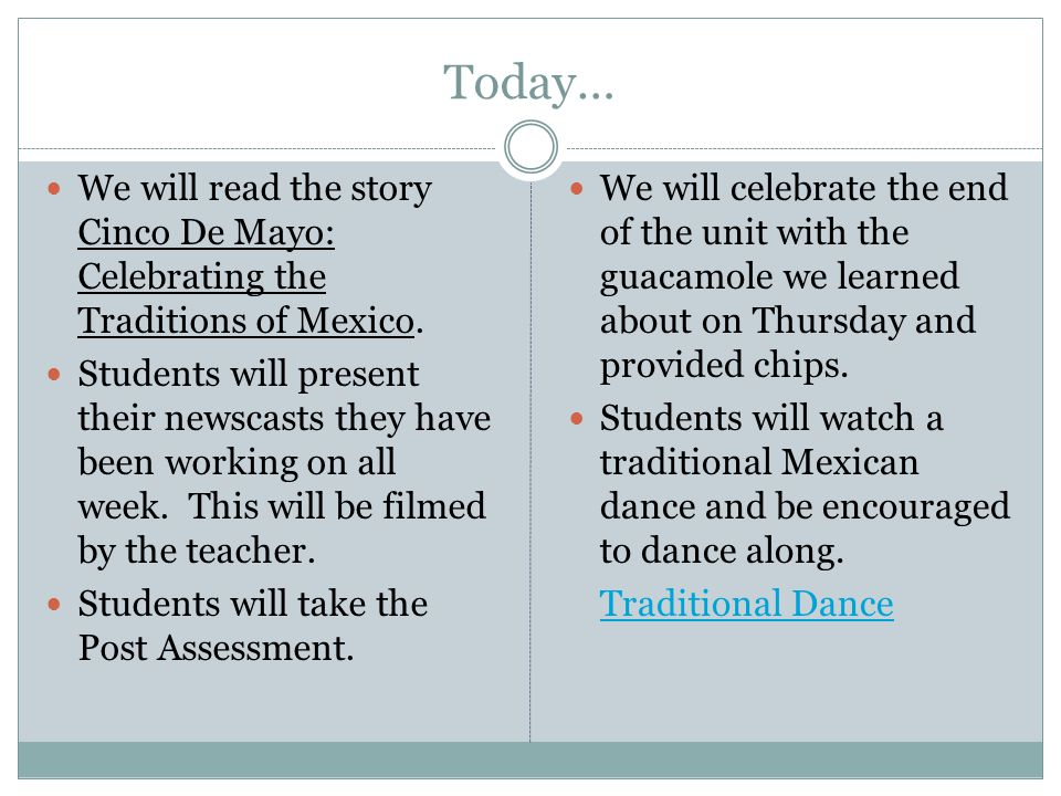 Today… We will read the story Cinco De Mayo: Celebrating the Traditions of Mexico.