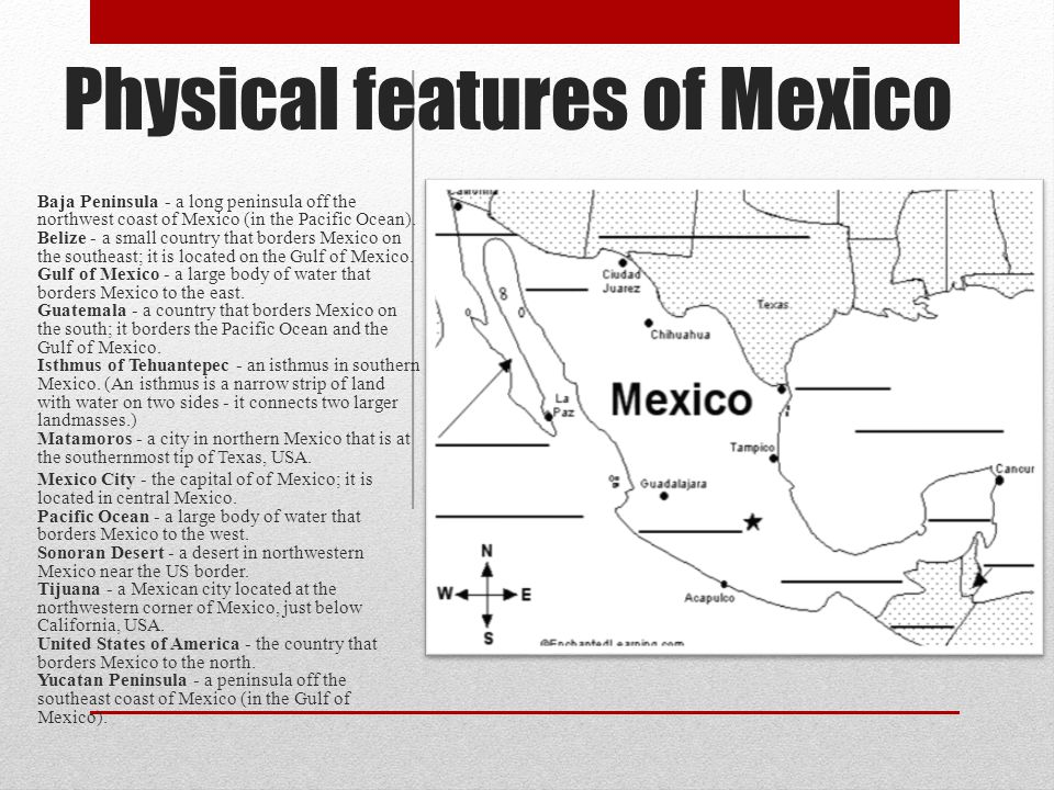 Physical features of Mexico