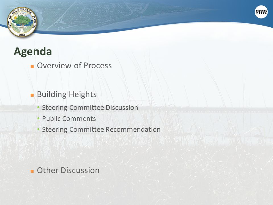 Agenda Overview of Process Building Heights Other Discussion
