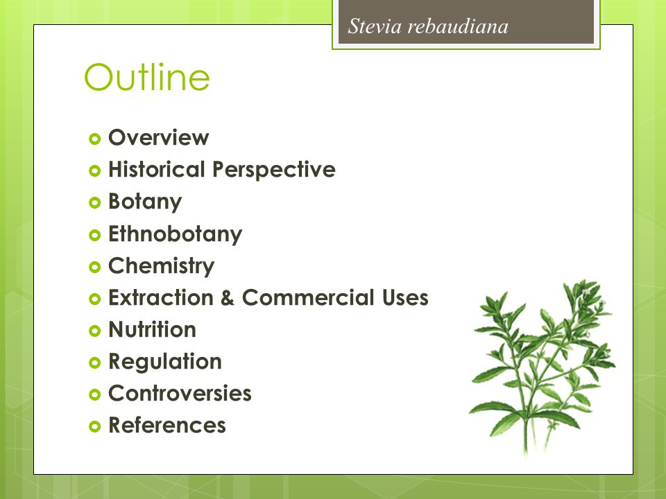 Outline Stevia rebaudiana Overview Historical Perspective Botany