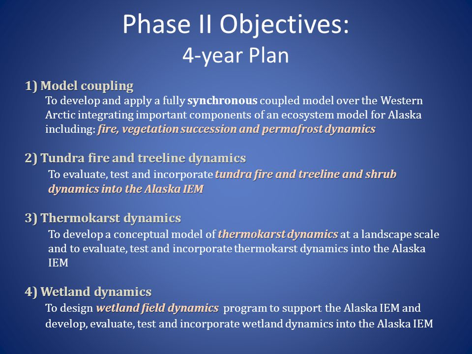 Phase II Objectives: 4-year Plan