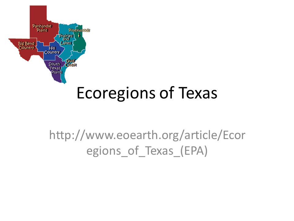 Ecoregions of Texas http://www.eoearth.org/article/Ecoregions_of_Texas_(EPA)
