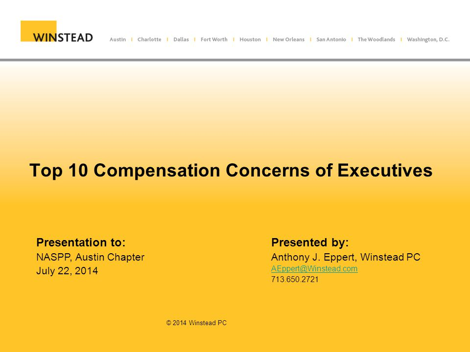 Top 10 Compensation Concerns of Executives