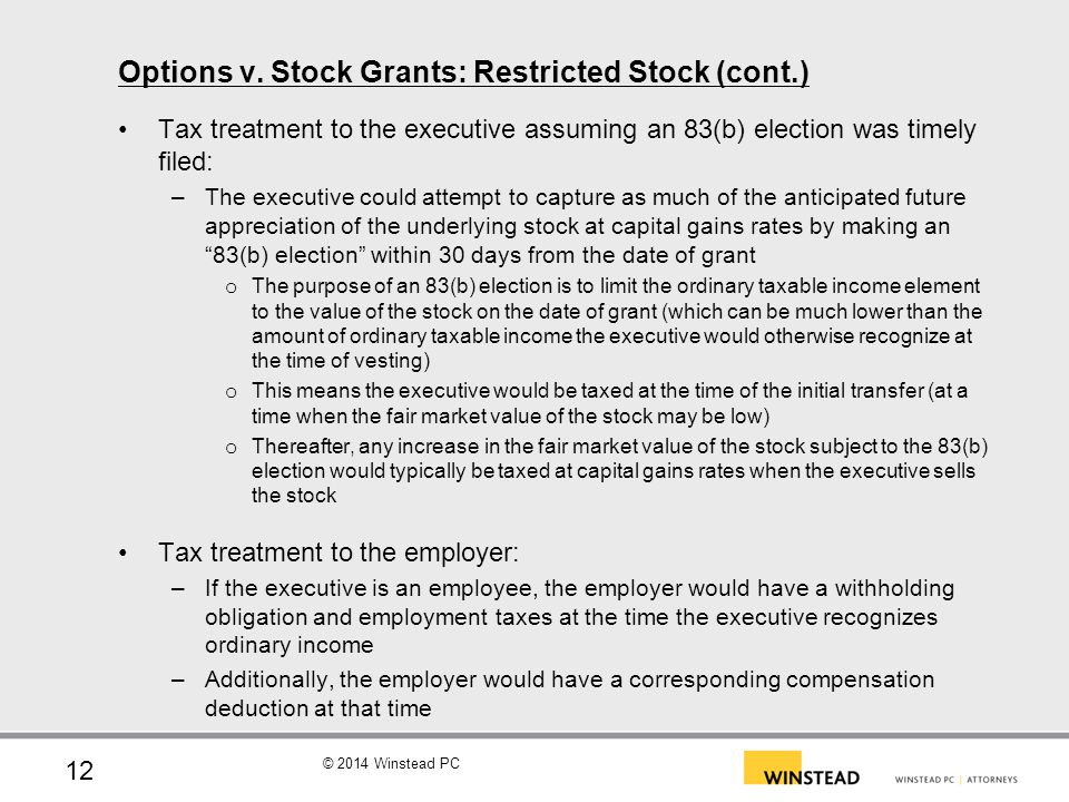 Restricted stock options and amt