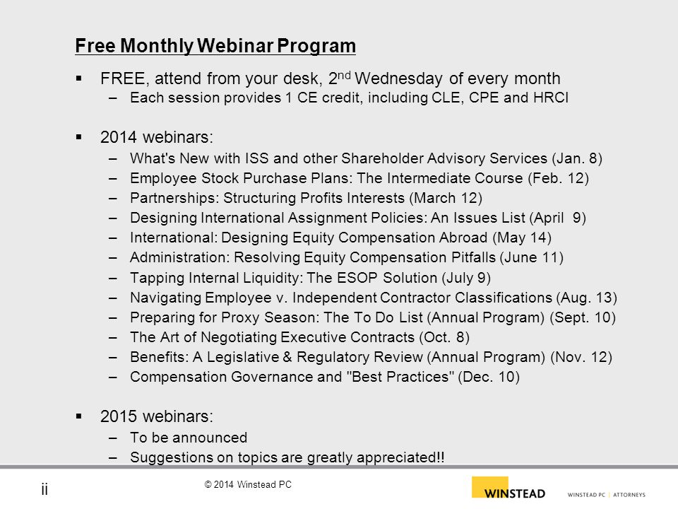 Free Monthly Webinar Program