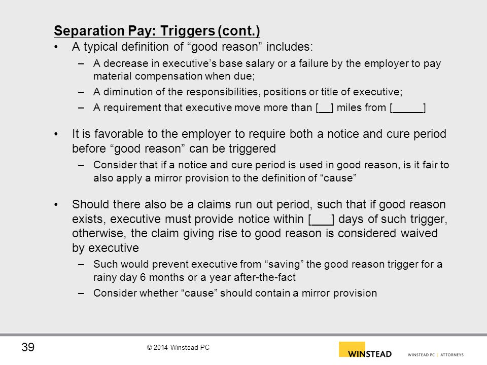 Separation Pay: Triggers (cont.)