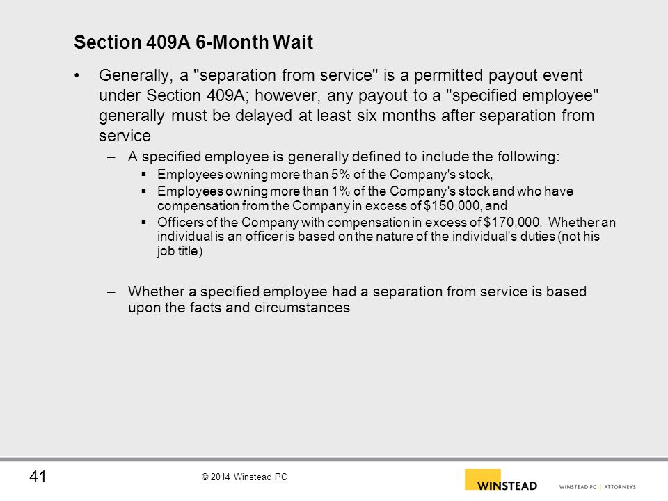 Section 409A 6-Month Wait