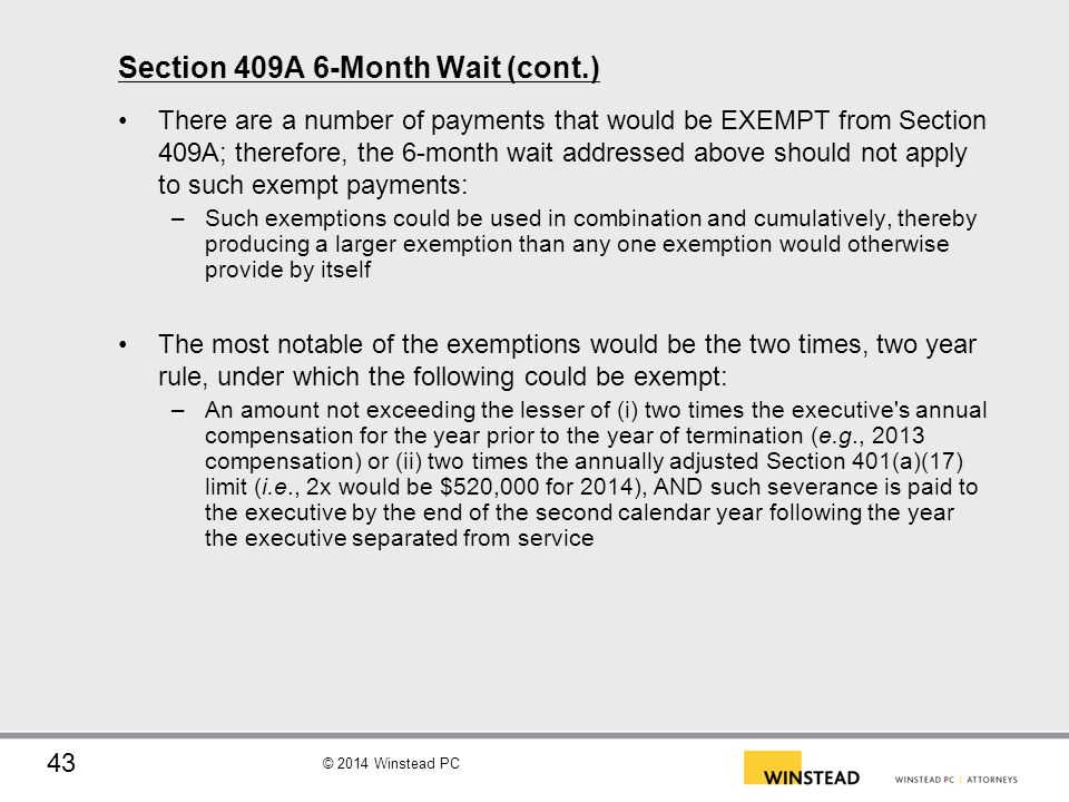 Section 409A 6-Month Wait (cont.)