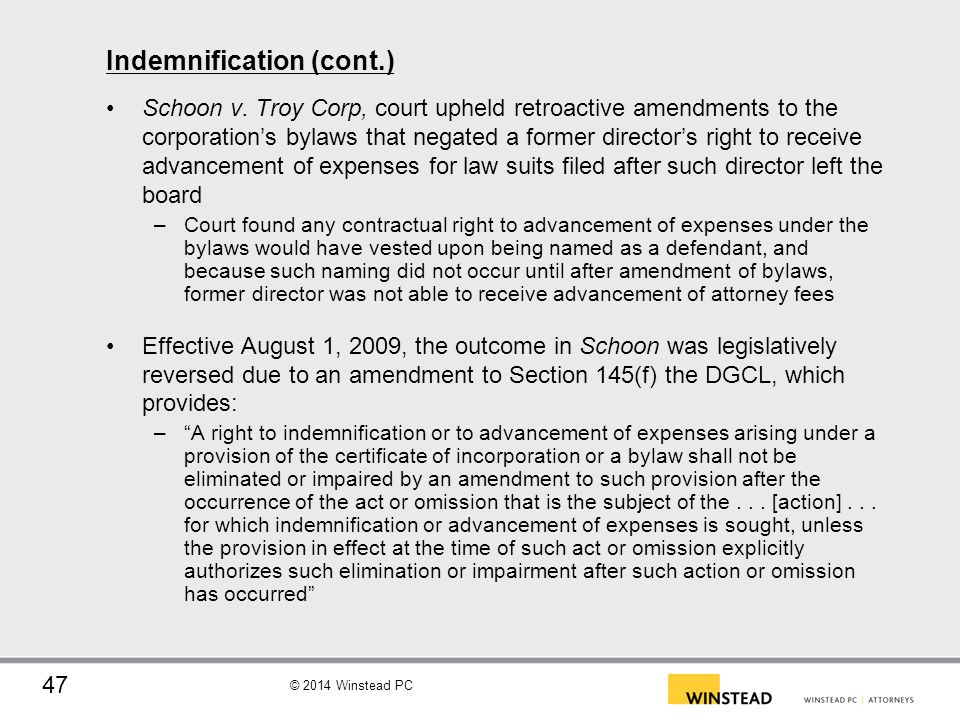 Indemnification (cont.)