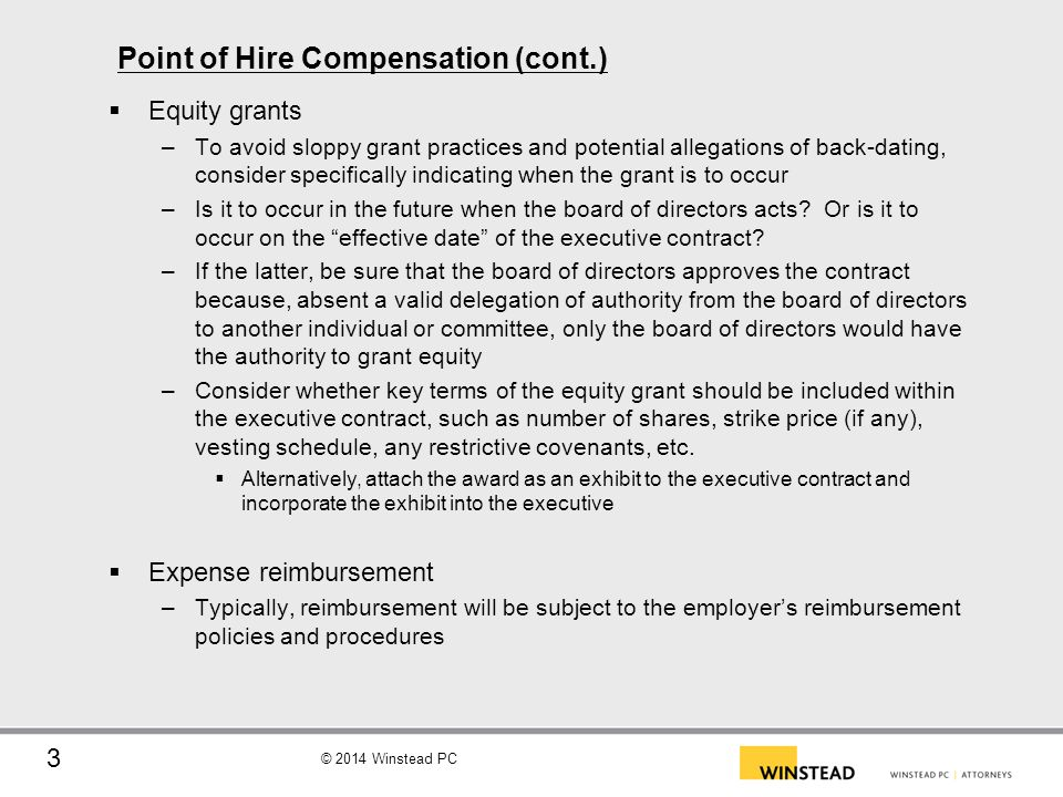 Point of Hire Compensation (cont.)
