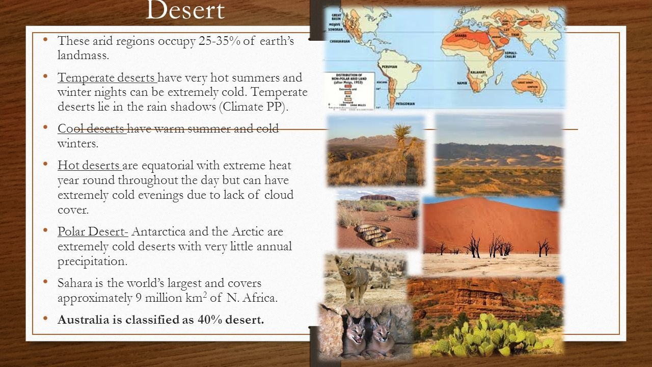 Desert These arid regions occupy 25-35% of earth's landmass.