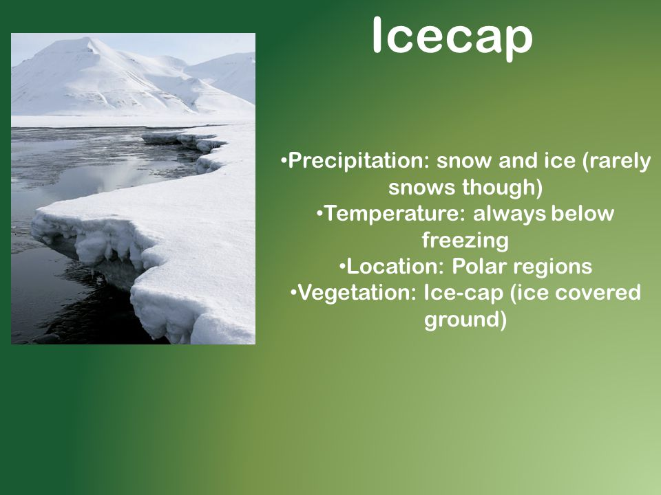 Icecap Precipitation: snow and ice (rarely snows though)