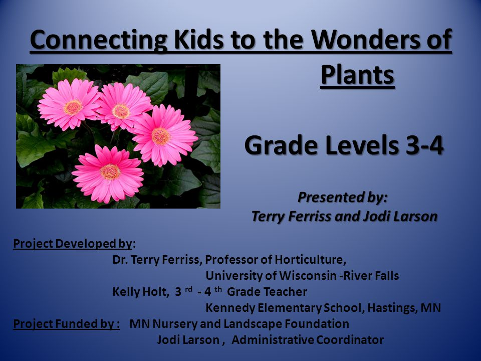 Connecting Kids to the Wonders of Plants Grade Levels 3-4