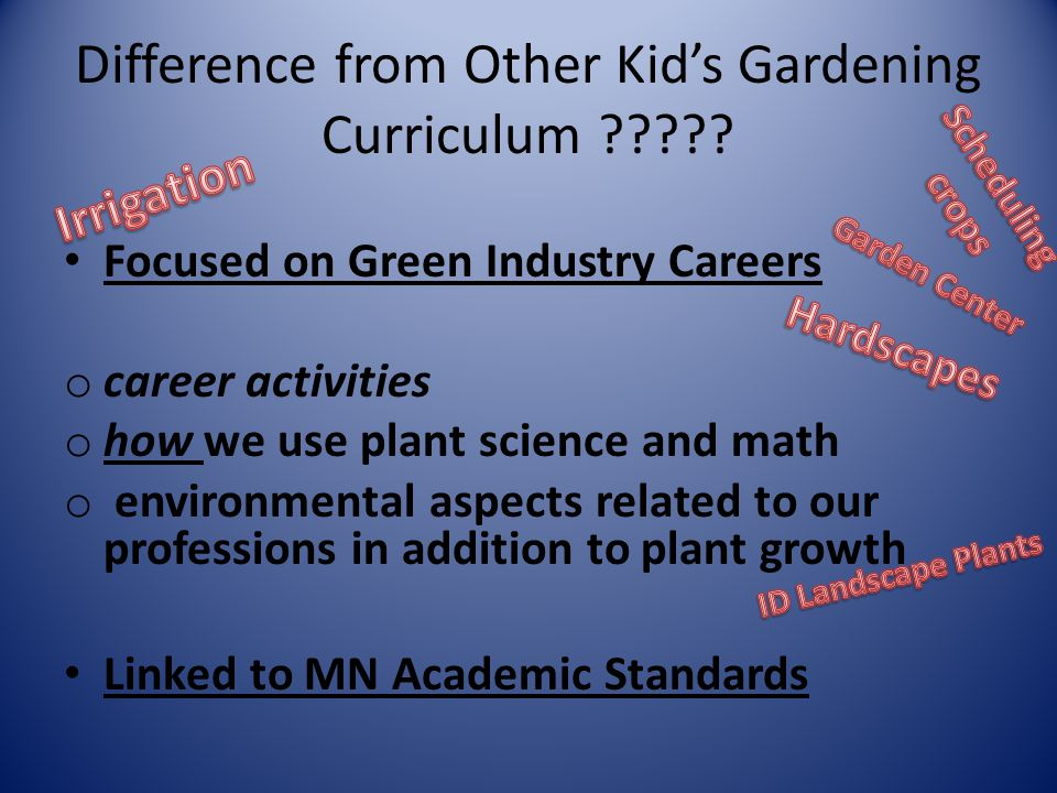 Difference from Other Kid's Gardening Curriculum