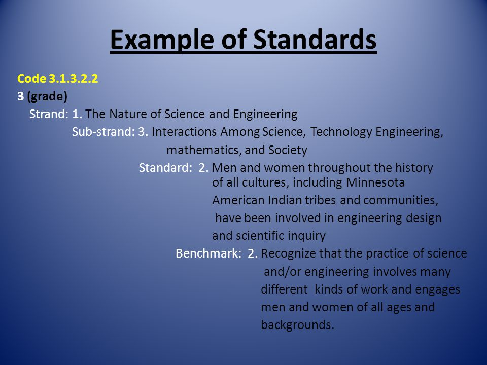 Example of Standards Code 3.1.3.2.2 3 (grade)